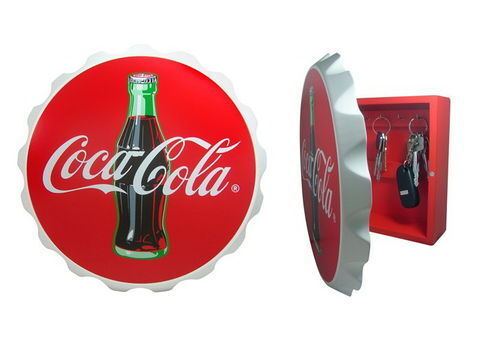 Coca-Cola Wood Contour Bottle Crown Key Box