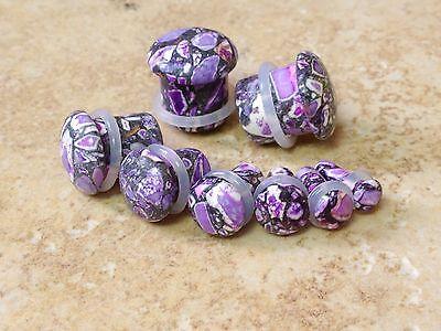 "PAIR Purple Crazy Agate Single Flare Stone Plugs Gauges 8g,6g,4g,2g,0g,00g,1/2"""