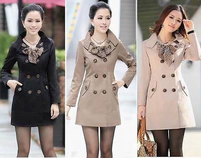 Women slim fit Trench Double Breasted Coat  Scarf Outwear top blouse Jacket
