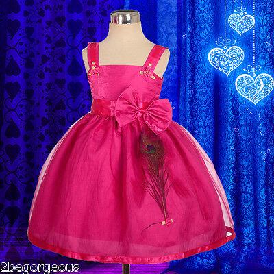 Peafowl Feather Dress Wedding Flower Girl Bridesmaid Baby Formal  Size 6m-4y 193