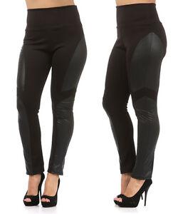 New-PLUS-SIZE-Faux-Leather-PANEL-Black-High-Waist-Leggings-Pants-1XL-2XL-3XL