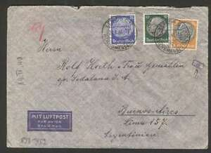 Germany-To-Argentina-Air-Via-LATI-Censor-Cover-1940-w-3-Stamps-L-K