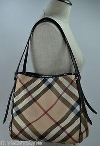 Burberry-Nova-Check-Tote-Shoulder-Bag-Patent-Leather-Handbag-with-Pouch