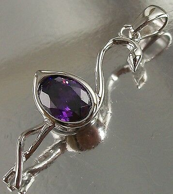 925 STERLING SILVER and purple CZ elegant BIRD CHARM PENDANT