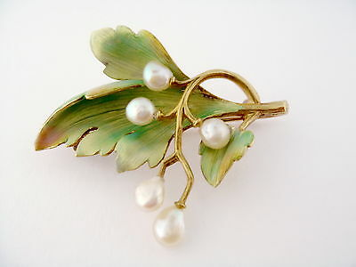 Antique Art Nouveau 18K Gold Enamel Enameled Natural Pearl Leaf Brooch Pin