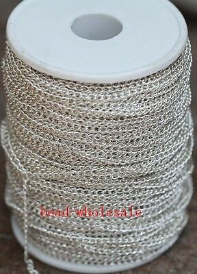 5m Silver Curb Open Link Metal Chain Lot For Necklace Bracelet