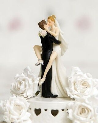 Super Sexy Kissing Funny Brides Legs around Groom Wedding Cake Topper Figurine