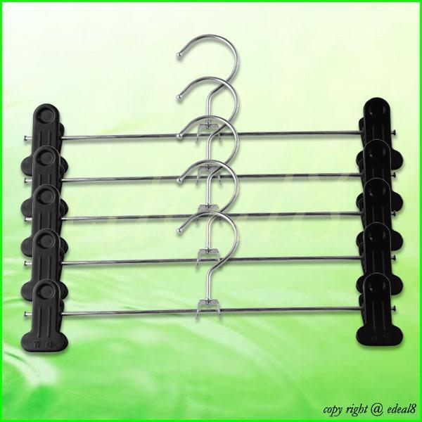 5 x Stainless Steel Two-Clips Kilt Pant Trousers Hangers Retail Clothes Store