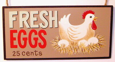 Rustic Chicken Hen Country Wood Sign ~ FRESH EGGS 25c~Nostalgic Farmhouse