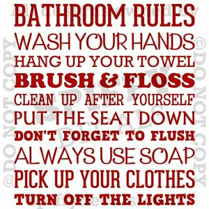 Bathroom Rules Wash Brush Floss Flush Quote Vinyl Wall Decal Decor