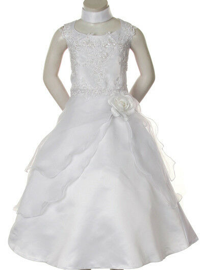 New Girl Pageant Wedding 1st Communion Formal Party Dress White 4 6 8 10 12 14