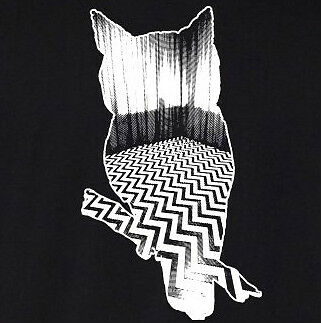 Twin Peaks WHITE OWL T-Shirt black lodge Lynch Fringe Eraserhead cotton tee ^o^