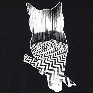 Twin Peaks WHITE OWL T-Shirt black lodge Lynch Fringe Eraserhead cotton tee ^o^