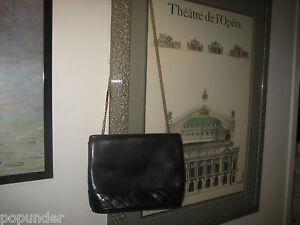 SALVATORE-FERRAGAMO-BAG-Black-Quilted-Leather-SHOULDER-Purse-or-CLUTCH-Chain