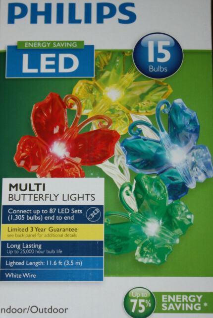 Philips Energy Saving LED 15 Bulbs Multi Colored Butterfly Lights Indoor/Outdoor