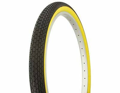 "2 TUBES/ TIRES 26"" X 2.125 DURO BRICK TREAD BLACK/YELLOW CRUSIER LOWRIDER MTB"