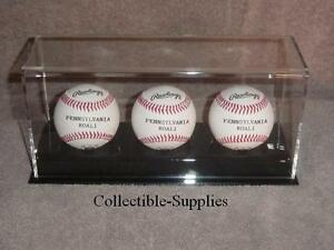 NEW-DELUXE-ACRYLIC-TRIPLE-BASEBALL-DISPLAY-CASE-HOLDER