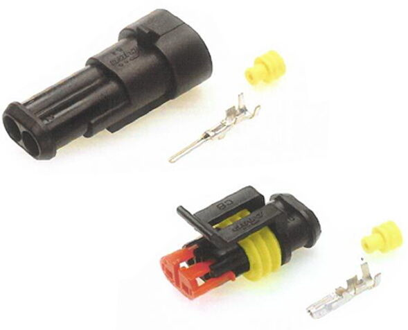SUPERSEAL CONNECTORS 2 WAY KIT. MALE & FEMALE. WATERPROOF CONNECTORS. 12V/24V.