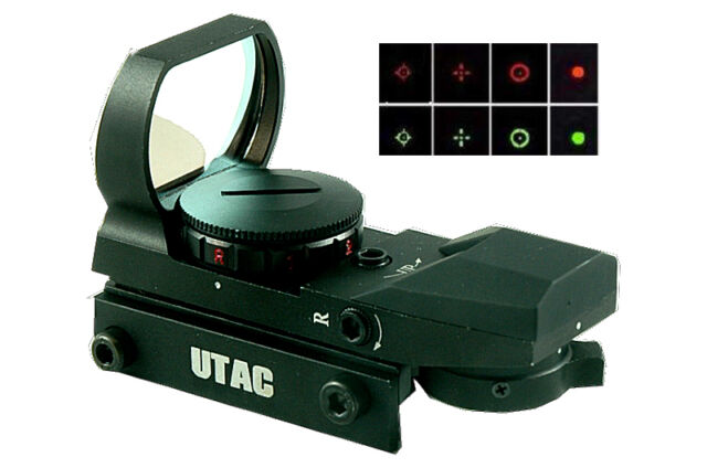UTAC Tactical 4 Reticle Red-Green Open Reflex Red Dot Sight &Integral Mount RD02