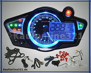 cockpit tachometer drehzahlmesser koso rx1n tacho neu. Black Bedroom Furniture Sets. Home Design Ideas