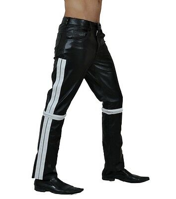 Mens Real Sexy Black White LeatherBikers Jeans Pants BLUF -(J1)