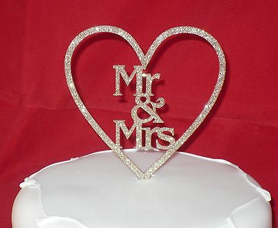 New GLITTER Mr & Mrs cake toppers colours RED black GOLD blue PINK purple SILVER