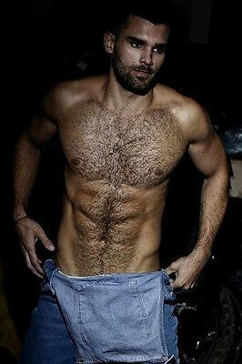 Shirtless Male Muscular Beefcake Hunk Beard Hairy Chest