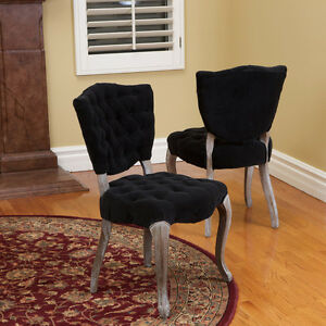 Set Of 2 French Design Weathered Wood Dining Chairs