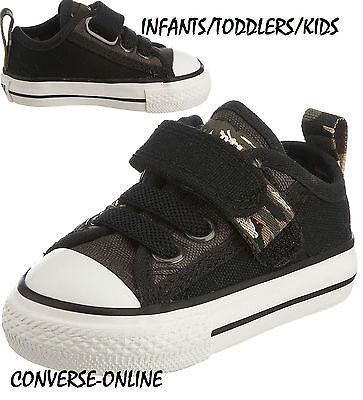 Niño Bebé Niño Converse All Star Correa Negra Camo Resbalón en Zapatillas Zapatos Uk Size 4