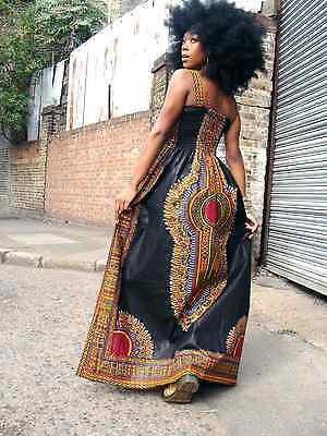 AFRICAN PRINT DASHIKI  DIVA MAXI DRESS S/M by DORIS & DORIS