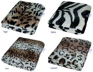 Soft Faux Animal Print Mink Throw Cushion Sofa Bed Blanket