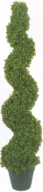 "5ft 3"" TOPIARY ARTIFICIAL OUTDOOR BOXWOOD TREE PLANT BUSH SPIRAL TWIST 63"" PORCH"