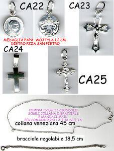 SincèRe Collana O Bracciale + 1 Croce O Papa Woytyla Tutto Argento 925 Scegli 1