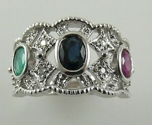 Ruby-Sapphire-Emereald-Ring-1-44ct-18k-White-Gold