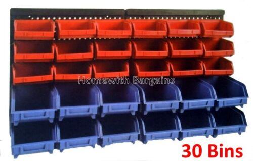 30pc storage bin kit wall mount garage warehouse tools parts rack board 5055894582090 ebay. Black Bedroom Furniture Sets. Home Design Ideas