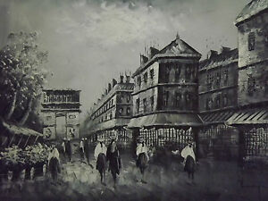 Paris-Large-Oil-Painting-Canvas-Arch-De-Triumph-Black-White-French-Art-Cityscape