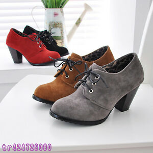 Vintage-Women-039-s-Thick-High-Heel-Ankle-Boots-Shoes-Lace-Up-UK-All-Size-Y137