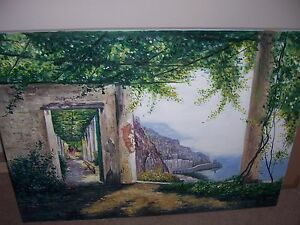 Amalfi-Coast-Italy-Oil-Painting-30x20-canvas-Lake-Como-Garda-Italy-Framing-avail