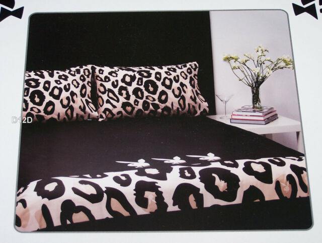 Great Playboy Bunny Black Leopard Reversible King Bed Quilt Cover Set New