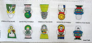 Vtg 70s fabric panel doll children of world christmas for Children of the world fabric