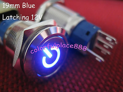 1pcs, 19mm Blue Metal with Symbol Latching Push Button Led Car Switch 12V