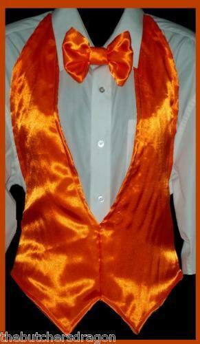 Backless Waistcoat Bow Tie Dicky Fancy Dress Party Bright Vivid Colours UK Made