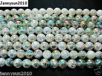 Natural Clear AB Crystal Quartz Gemstone Round Beads 15.5'' Strand 8mm 10mm 12mm