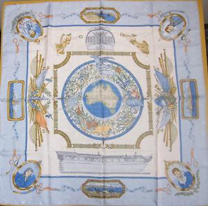 Auth-HERMES-Mint-039-LE-GEOGRAPHE-039-light-blue-Jacquard-Silk-scarf-MPRS