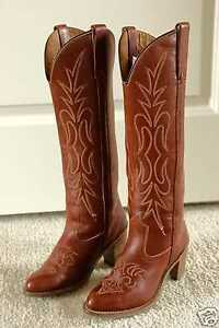 VINTAGE MISS CAPEZIO TALL BRICK RED WOMENS LEATHER COWBOY BOOTS 5 ...