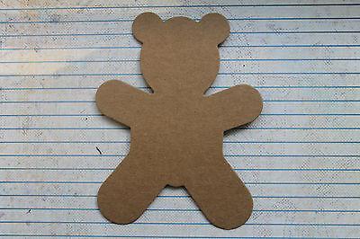 "3 Bare chipboard Teddy Bear diecuts 3 3/4"" w  x 4 7/8"" h"