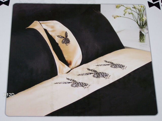 Playboy Bunny Black Leopard King Bed Satin Fitted Sheet Set New