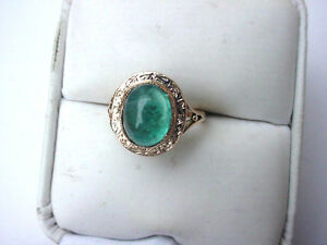 ANTIQUE-VICTORIAN-14K-ROSE-GOLD-RING-with-FINE-NATURAL-EMERALD-19c