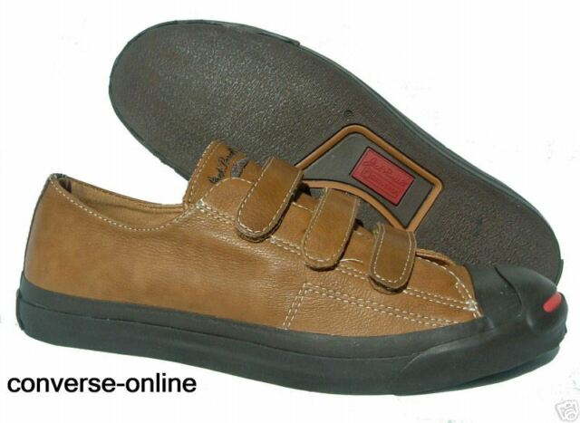 8a73fb561833 Womens Boys CONVERSE All Star JACK PURCELL Brown Leather Trainers Shoe UK  SIZE 3