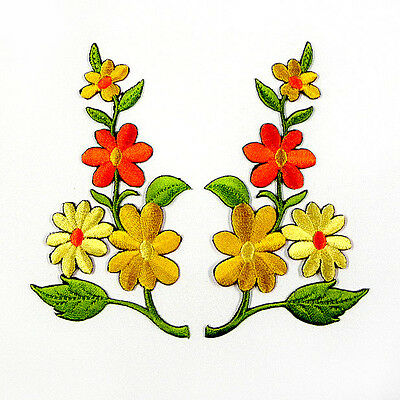 I0604 x1Pair(2pcs) Floral Flower Bouquet Boho Iron On Patch Embroidered Applique